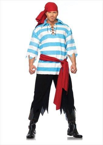 Leg Avenue Men's Pillaging Pirate Costume, Blue/White, -