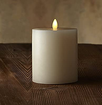 smtyle Dancing Flame Wax Flat Top Pillar Candle with Timer,Remote Control
