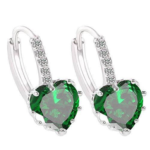 Price comparison product image BOOBODA Women's Diamond Earrings Heart-Shaped Zircon Earring Multi-Color Fashion Simple Stud Earrings Mom Gift Green
