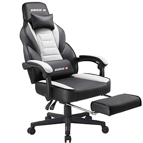 BOSSIN Video Gaming Chair Office Computer Gaming Chair Racing Style with Headrest and Footrest, Ergonomic Design, Large Size High-Back E-Sports Chair, PU Leather Swivel Chair (White)