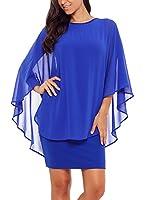 Lovezesent Womens Ruffles Bodycon Cocktail Party Mini Dress with Chiffon Cape