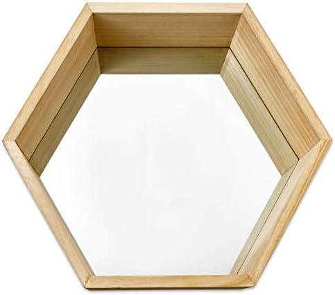 Geometric Mirror Set for Wall D/écor Wall Mounted Mirrors PARNOO Wall Mirror Set of 3 Hexagonal Wood Frame Mirrors