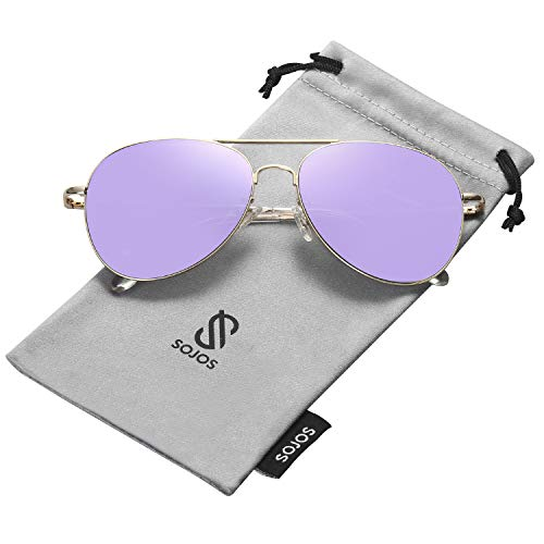 SOJOS Classic Aviator Mirrored Flat Lens Sunglasses Metal Frame with Spring Hinges SJ1030 with Gold Frame/Purple Mirrored Lens (Purple Sunglasses)