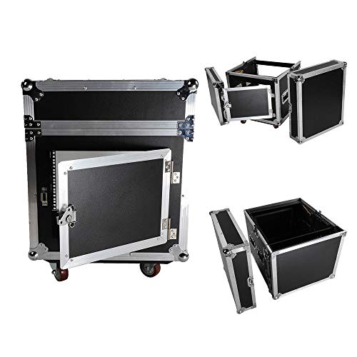 Professional 12 Space Rack Case W/Slant Mixer Top DJ Mixer Cabinet +4Pcs ()