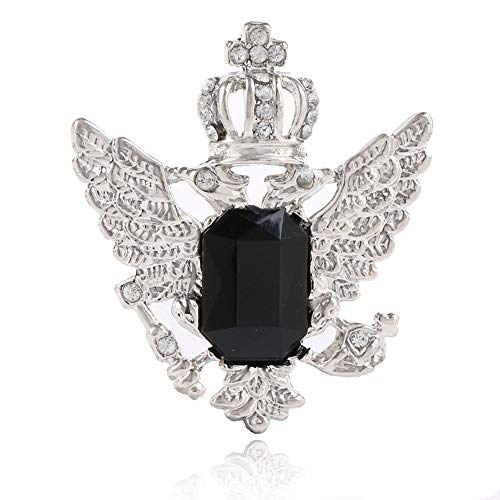 Elegant Sapphire Crown Double-Headed Eagle Wings Brooch Pin Badge Pin Charm Jewelry Accessories (Black -