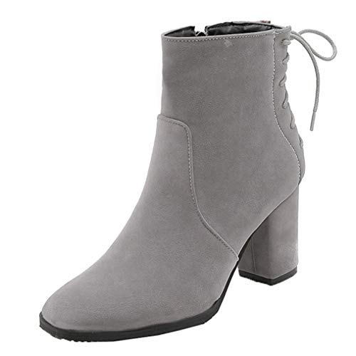 Womens Square Toe Chunky Heel Martin Boot Side Zipper Faux Suede Cross-Tied High Block Heel Ankle Boots