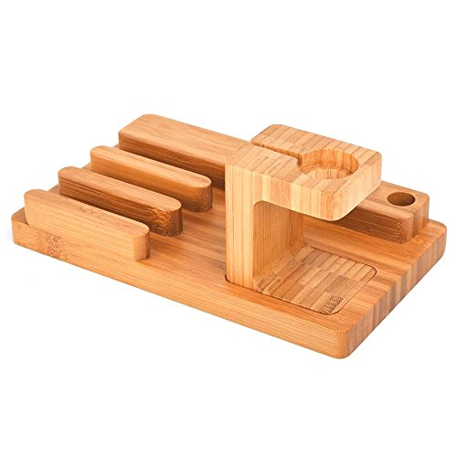 Apple Watch Stand,Phone Stand,Ptuna Bamboo Wood Charging for iPhone,Smart Phone,Apple Watch (Bamboo Wood-4 Ports)