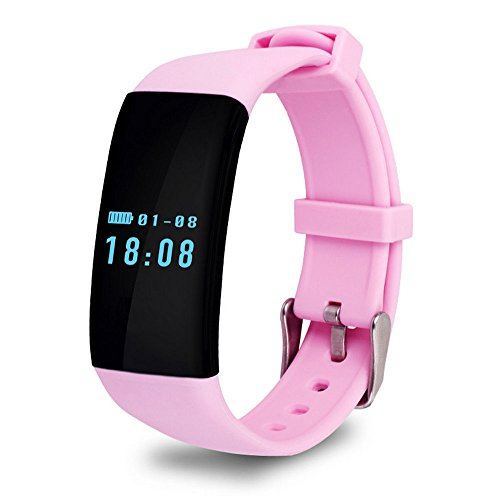 Efanr D21 Smart Band Watch Health Fitness Tracker Heart Rate Monitor Sport Pedometer Sleep Monitor Wireless Wristband Exercise Tracking Waterproof NFC Bracelet for iPhone Android Cell Phones (Pink)
