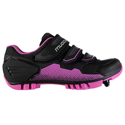 Muddyfox Womens MTB100 Cycling Shoes Waterproof Lightweight Mesh Breathable Black/Pink UK 5 (38) by Muddyfox