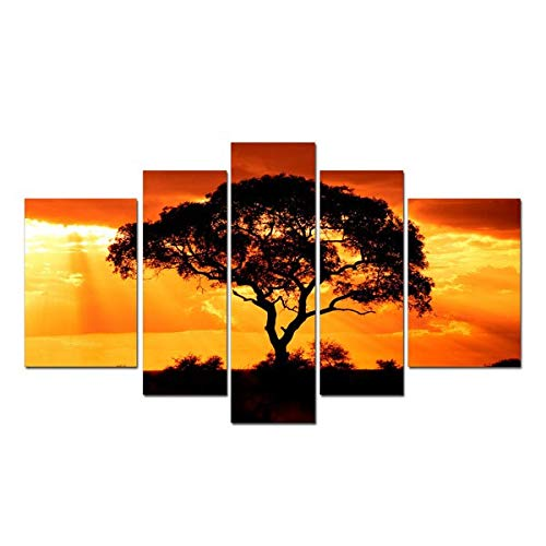 KLKLDD Canvas Prints Picture Large 5 Pieces Wall Art Black Tree Sunset Peace Giclee Canvas Art for Living Room Decoration,40X60 40X80 40X100Cm