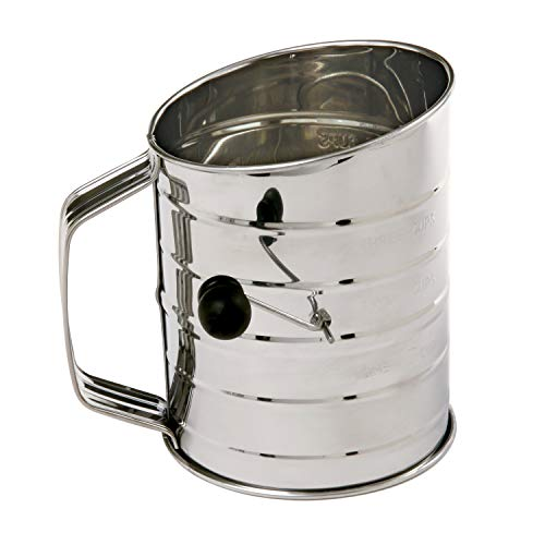 (Norpro 3-Cup Stainless Steel Rotary Hand Crank Flour Sifter With 2 Wire Agitator)
