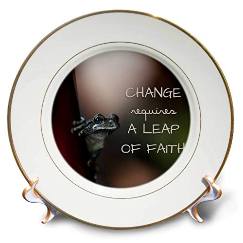 (3dRose Stamp City - Typography - Change Requires a leap of Faith. Macro Photo of a Copes Gray Tree Frog - 8 inch Porcelain Plate (cp_316747_1))