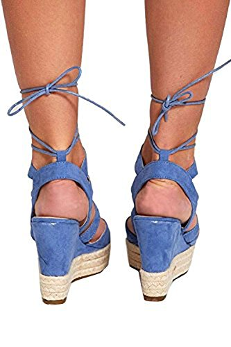 Divadames Womens Strappy Cork Heeled Platforms Ladies Lace up Wedges Ankle Heels Pom Pom Pumps Size UK 3 - 8 699-3/Blue V6WAr3pB