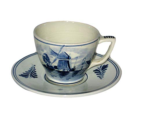 - Vintage Delft Blue Holland Hand Painted Windmill Scene Cup & Saucer Set