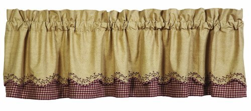 Checker Berry Scalloped Layered Valance