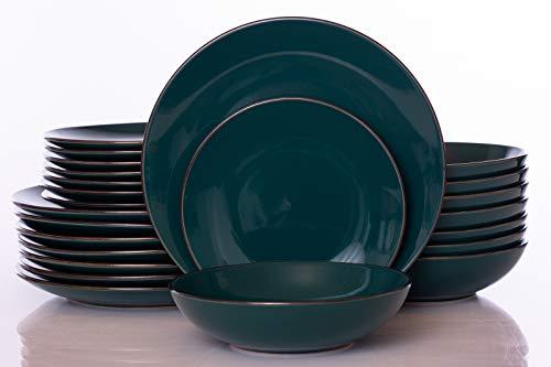 18-Piece Dinnerware Set, Kitchen Bowl and plate,Mugs, Durable Porcelain Green Dinnerware Set