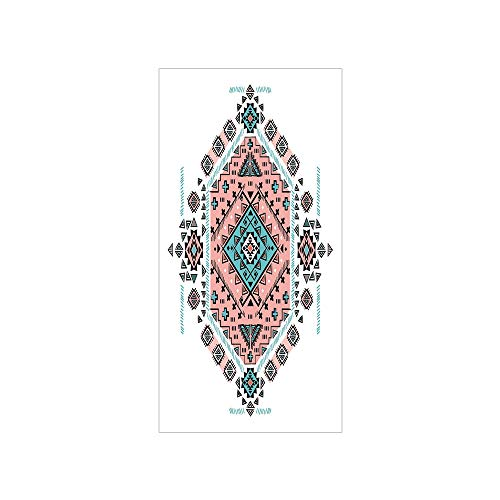 - 3D Decorative Film Privacy Window Film No Glue,Tribal Decor,Mexican Native American Ethnic Symmetrical Four Corner Art Pattern,Teal and Coral Pink,for Home&Office
