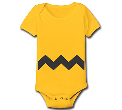 Funny Threads Outlet Charlie Brown Chevron Stripe Halloween Costume Baby One Piece (12 Months, Gold)
