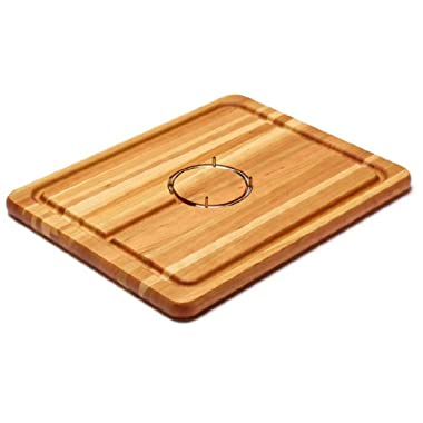 Snow River Cherry Carving Board with Stainless Steel Gripping Ring and Juice Well, 14 by 18 by 1-Inch