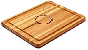 """Snow River USA 7V03084 Hardwood Cherry Carving Board with Stainless Steel Gripping Ring and Juice Well, 14"""" x 18"""" x 1"""""""