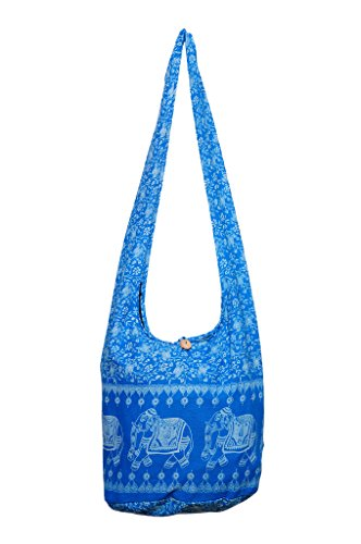 Avarada Thai Cotton Hippie Hobo Sling Crossbody Bag Messenger Purse Bohemian Elephant Print Blue