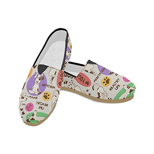 D-etasjers Mote Joggesko Flats Rosa Flamingo Kvinners Klassiske Slip-on Canvas Sko Loafers Multi8