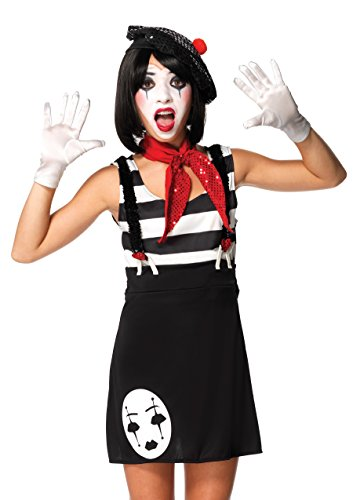 Leg Avenue Junior's 4 Piece Miss Mime Costume, Black/White, Small/Medium -