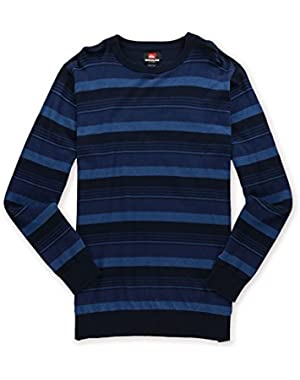 'Actualizer' Men's Blue Horizontal Striped Crew Neck Sweater