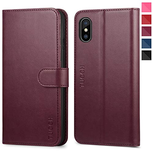 iPhone Xs Max Wallet Case, iPhone Xs Max Case, TUCCH PU Leather Flip Case with Card Slot,RFID Blocking,Stand Holder, Auto Wake/Sleep [Wireless Charging] Compatible iPhone Xs Max(6.5 inch) - Wine Red