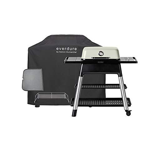 Everdure Force by Heston Blumenthal 2-Burner Liquid Portable Propane Gas Grill, Cover and Accessory Bundle: Die-Cast Aluminum Body, Stone