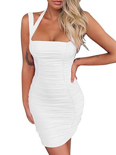 BEAGIMEG Women's Sexy Halter Tank Top Ruches Sleeveless Bodycon Party Mini Dress White