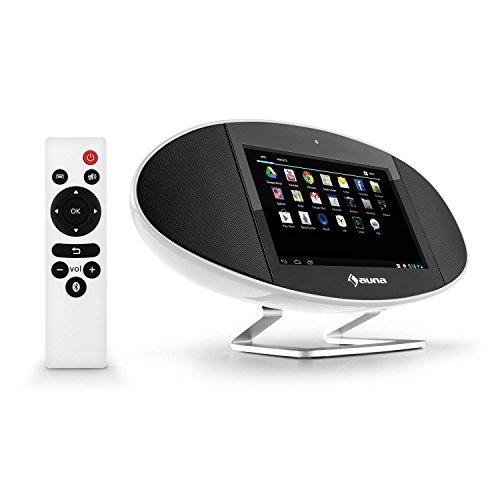 Auna Swizz Mediacenter Wifi Internetradio Wlan Radiowecker Multifunktions-Radio mit 18cm (7 Zoll)-Touchscreen-Monitor (Android: 4.4, Dual Core, 1 GB RAM, 8GB interner Speicher, Bluetooth, Air Play, microUSB-SD-Slot, HDMI, Fernbedienung, Frontkamera) weiß