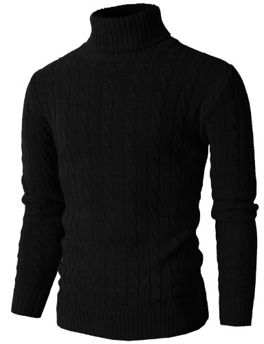 (H2H Mens Casual Turtleneck Slim Fit Pullover Sweaters with Twist Patterned BLACK US L/Asia XL (KMOSWL033))