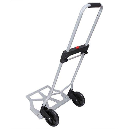 220lb Heavy Duty Folding Hand Truck & Dolly, Assisted Hand Truck Luggage Cart with 2 Wheels-Black by Korie