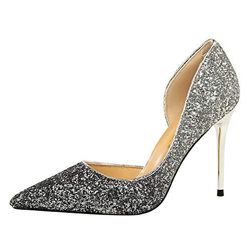 5 36 Argenté Sandales APL10712 Silver Femme Compensées BalaMasa qx1C8nBWq