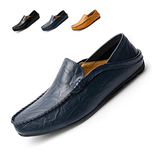 (Loafers Men Boat Shoes Soft Genuine Leather Shoes Slip-on Moccasins Flat Casual Driving Shoes)