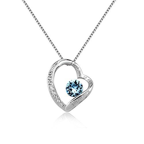 [Rhodium Plated I Love You To The Moon And Back Heart Necklace Made With Swarovski Crystal (Blue Topaz)] (Garnet Swarovski Austrian Crystal)