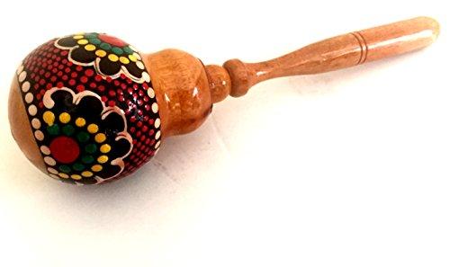 (Hand Painted Wooden Maraca Shaker Musical Instrument - Handmade, Nice Sound - JIVE FEDERAL (TM) BRAND)