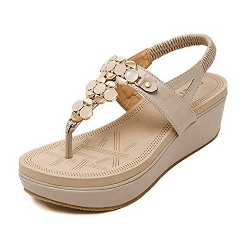Sandalias De Vestir Con Plataforma Decoradas Con Pedreria Tipo Para Mujer Albaricoque