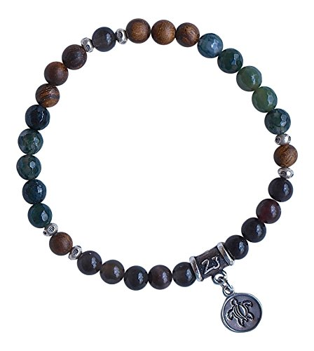 TURTLE TOTEM BRACELET - Moss Agate & Cat Eye Scapolite Gemstones with Red African Sandalwood Beads & Sterling Silver Hand Stamped Turtle Charm & Sterling Silver Hill Tribe Daisy Spacers - African Agate Gemstone