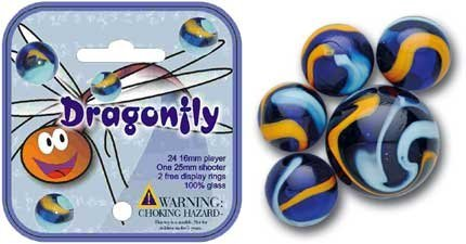 Mega Marbles - DRAGONFLY MARBLES NET (1 Shooter Marble, 24 Player Marbles )