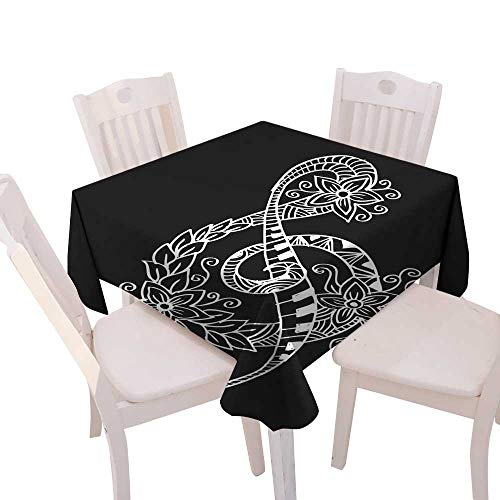 longbuyer Table Cover Hand Drawn Doodle Treble Clef Square Tablecloth W 54