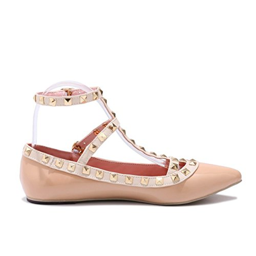 Ankle Rivets Studded T Punk Beige Flat Women's JESSI Strap Shoes MAIERNISI Out Cut Strap p4AnE