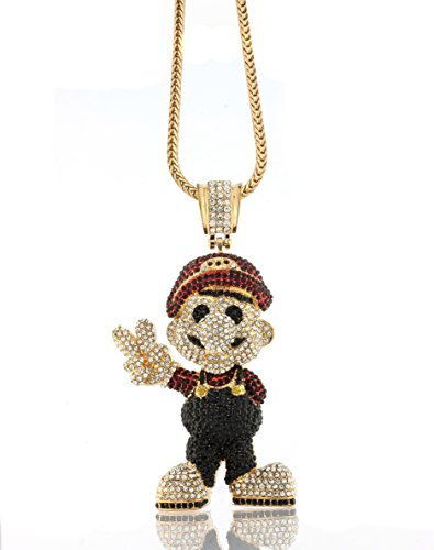 """Iced Out Gold Super Mario Bros XL Pendant w/ 30"""" & 36"""" Franco Chain - 30 Inches"""