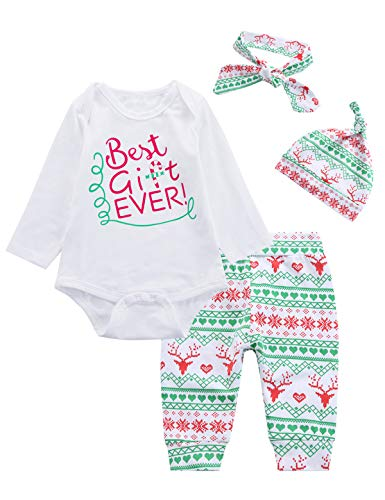 4PCS Christmas Baby Boys Girls Outfit Set Xmas Long Sleeve Romper (12-18 Months)
