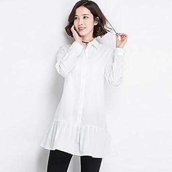 Moda Mujer, casual, sudaderas, larga de algodón, camisas blancas, blusas blancas