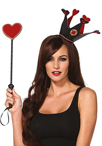 Leg Avenue Women's Crown and Scepter Costume Accessory, Black/Red, One (Queen Of Hearts Costume Accessories)