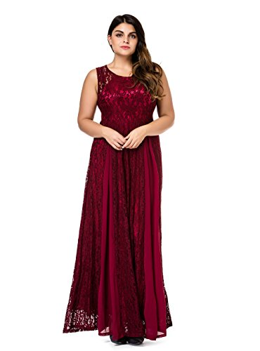Bride Sleeveless Dress (Esprlia Women's Plus Size Lace Sleeveless Evening Party Formal Maxi Dress - 2X Plus - Wine)