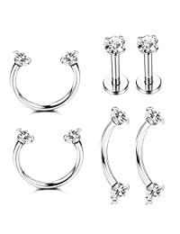 Subiceto 3 Pairs Stainless Steel Nose Ring Hoop CZ Nose Piercing Tragus Cartilage Helix Eyebrow Body Piercing Studs Jewelry