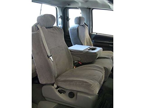 (Durafit Seat Covers 2001-2007- Ford XCAB F250-F350-F450-F550 Front 40/20/40 Split Seat Custom Seat Covers, Opening Console Gray Automotive Velour. Low back, seat belts in top of seats. Adjustable)